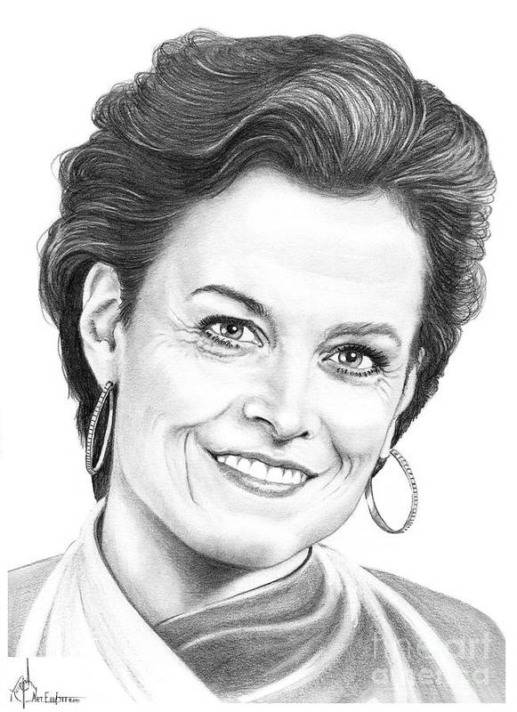 Drawing Poster featuring the drawing Sigourney Weaver by Murphy Elliott