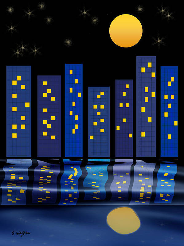 Skyline Poster featuring the digital art Skyline Reflections by Arline Wagner
