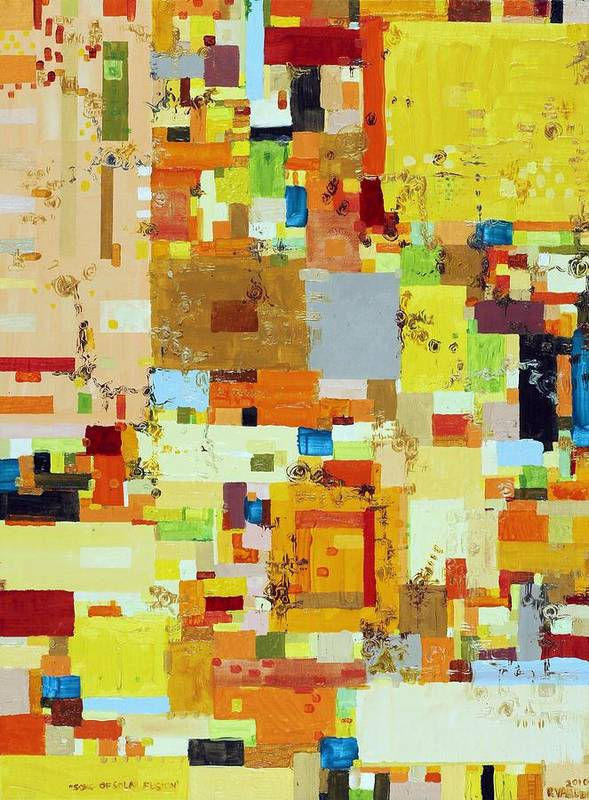 Abstract Poster featuring the painting Song Of Solar Fusion by Regina Valluzzi