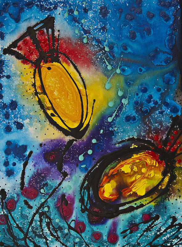 Abstract Poster featuring the painting Tropical Flower Fish by Sharon Cummings