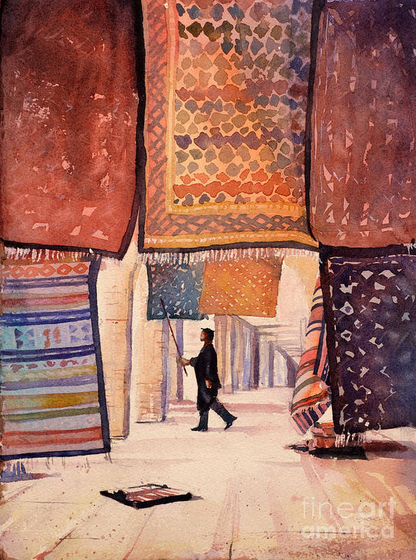 Africa Poster featuring the painting Tunisian Rug Vendor by Ryan Fox