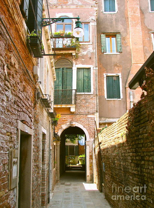 Angelica Dichiara Poster featuring the photograph Venice- Venezia-calle Veneziana by Italian Art
