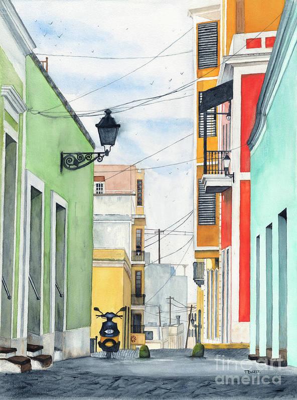 San Juan Poster featuring the painting Viejo San Juan by Tom Dorsz