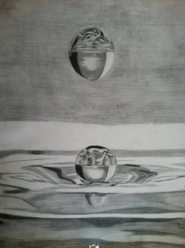 Water Poster featuring the drawing Waterdrop by Paul Barille