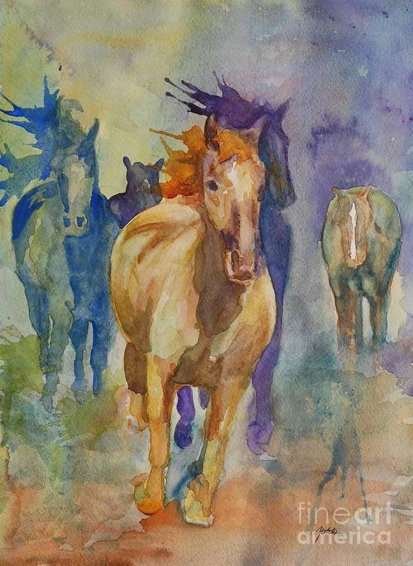 Wild Horses Poster featuring the painting Wild Horses by Gretchen Bjornson