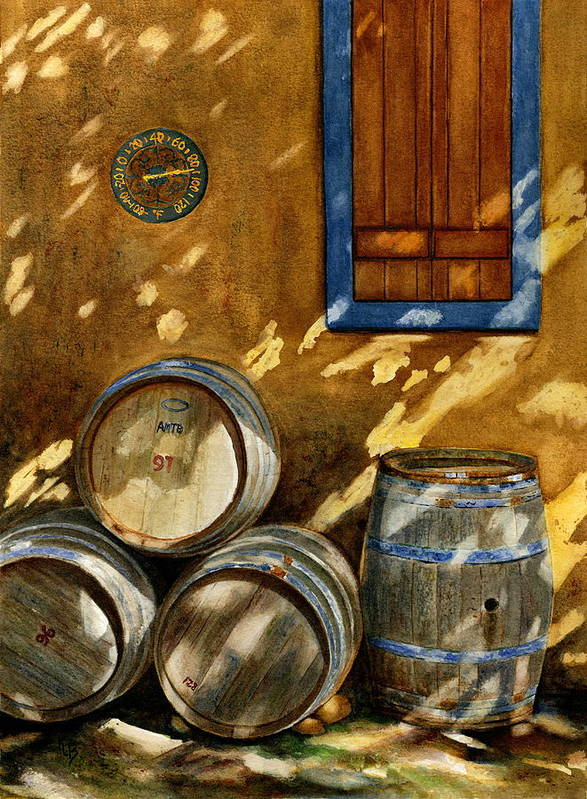 Wine Poster featuring the painting Wine Barrels by Karen Fleschler