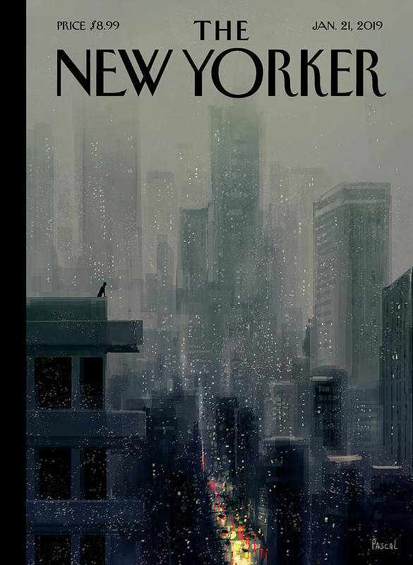 Cityscape On A Wintery Evening With A Silhouette Of A Person On A Rooftop Poster featuring the painting Big City by Pascal Campion