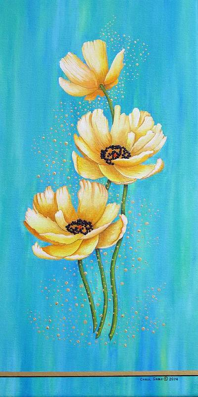 Poppies Poster featuring the painting Three Yellow Poppies with Pixie Dust by Carol Sabo