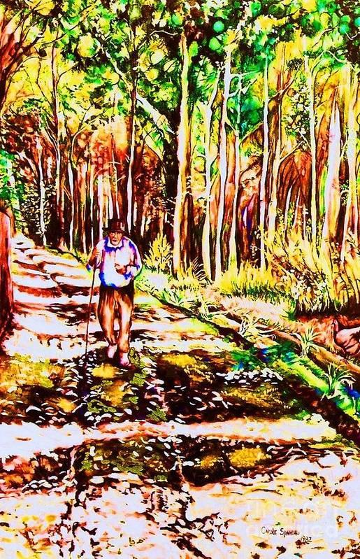 The Road Not Taken Robert Frost Poem Poster featuring the painting The Road Not Taken by Carole Spandau