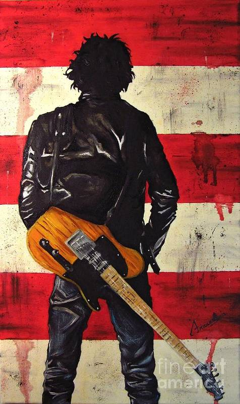 Bruce Poster featuring the painting Bruce Springsteen by Francesca Agostini