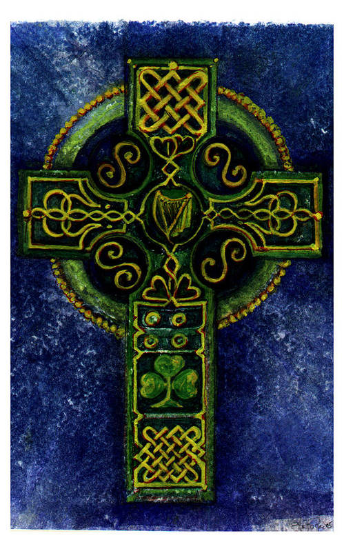 Elle Fagan Poster featuring the painting Celtic Cross - Harp by Elle Smith Fagan