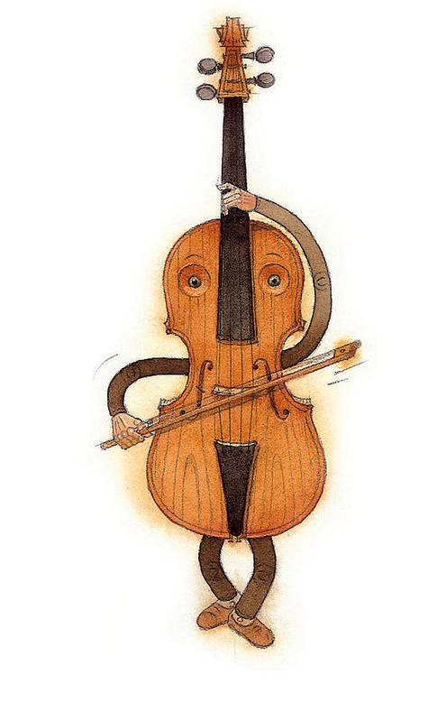 Violin Music Baroque Classical Poster featuring the painting Stradivarius Violin by Kestutis Kasparavicius