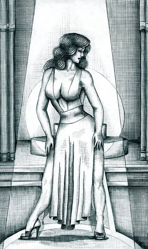 Figure Poster featuring the drawing The Performer by Scarlett Royal