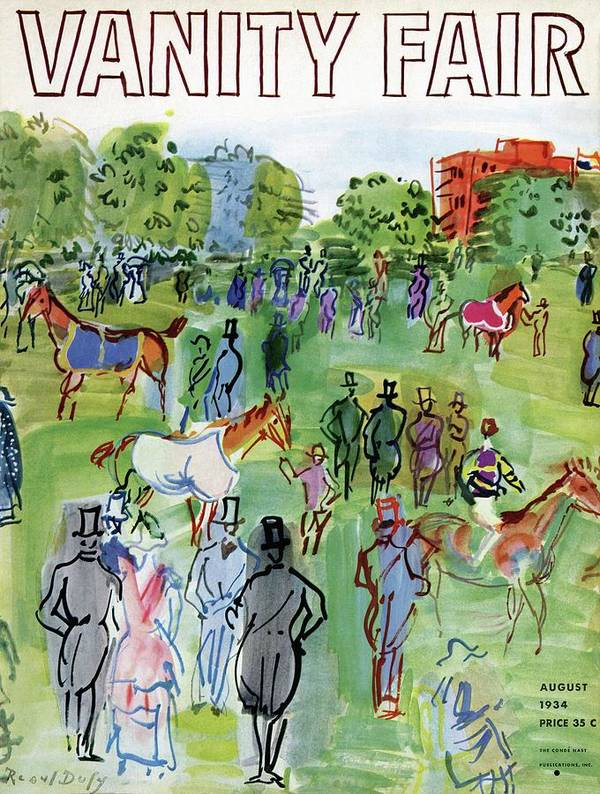 Illustration Poster featuring the photograph A Equestrian Scene by Raoul Dufy