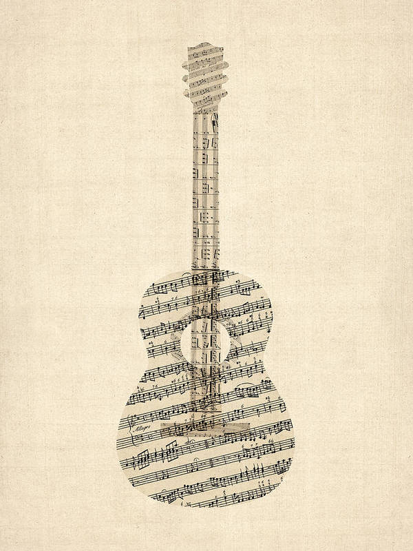 Acoustic Guitar Poster featuring the digital art Acoustic Guitar Old Sheet Music by Michael Tompsett