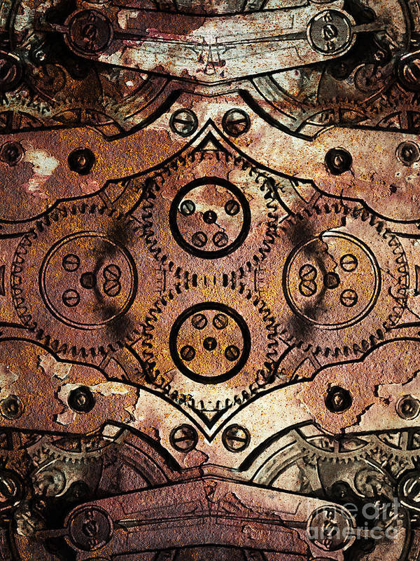 Steampunk Poster featuring the photograph Age Of The Machine 20130605rust Vertical by Wingsdomain Art and Photography
