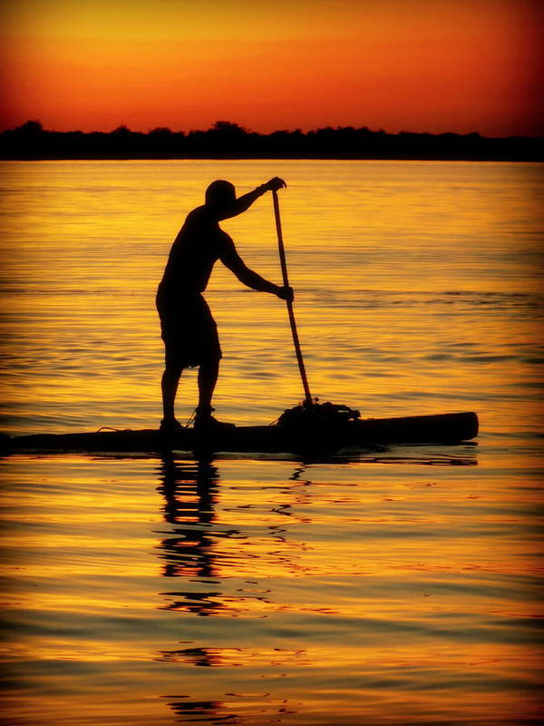 Paddle Boarding Poster featuring the photograph Alone With The Sun by Karen Wiles