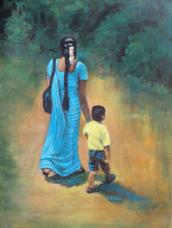 Amma Grip Leads.amma Guides Poster featuring the painting Amma's Grip Leads. by Usha Shantharam