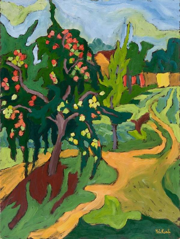 Apples; Fruit Tree; Garden; Orchard Poster featuring the painting Appletree by Marta Martonfi Benke