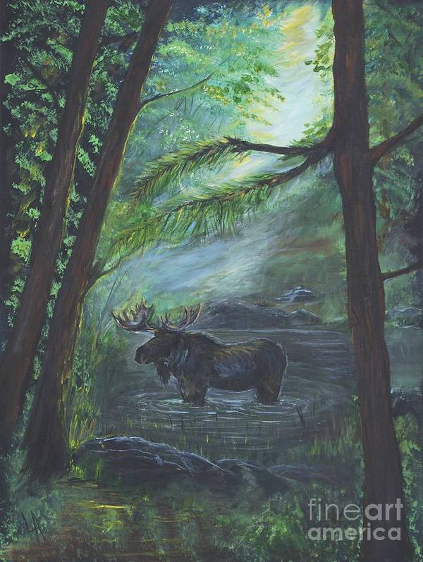 Bull Moose Poster featuring the painting Bull Moose Pond by Leslie Allen