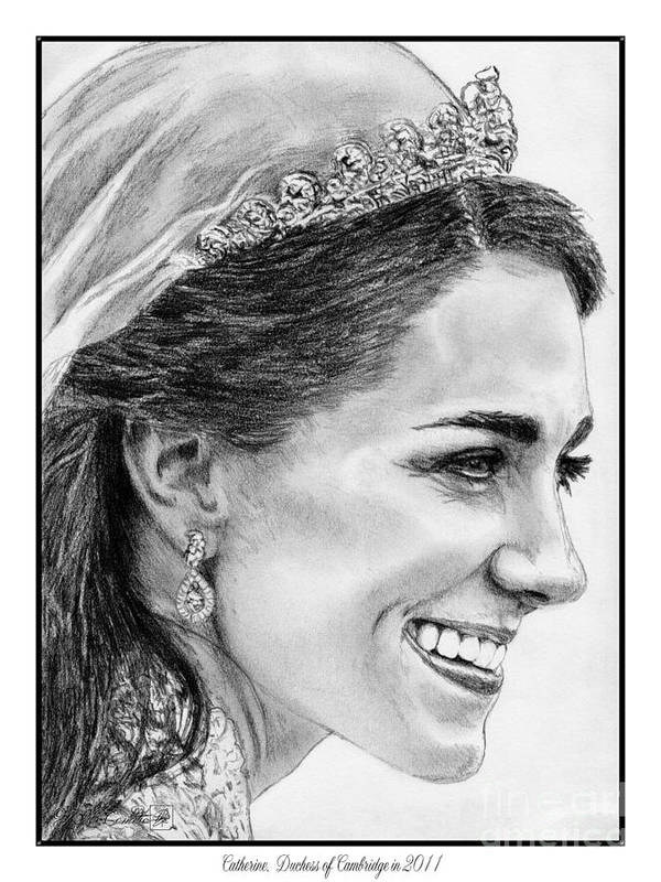 Mccombie Poster featuring the drawing Catherine - Duchess Of Cambridge In 2011 by J McCombie