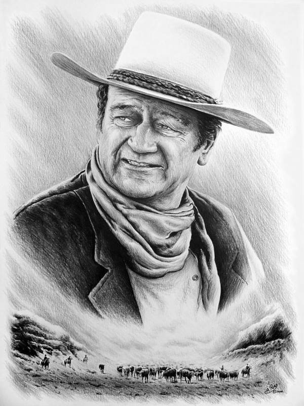 John Wayne Poster featuring the drawing Cattle Drive Bw Version by Andrew Read