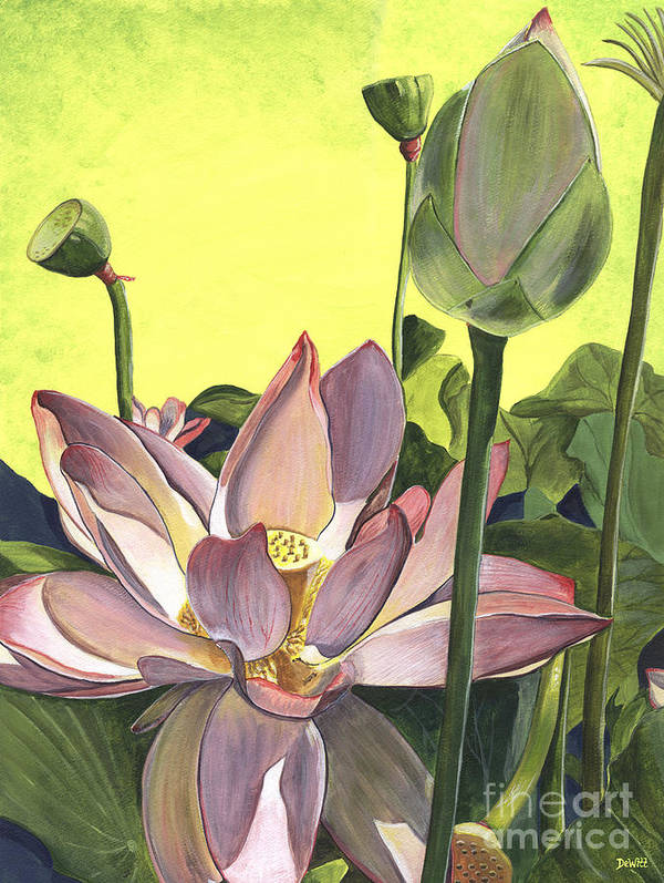 Floral Poster featuring the painting Citron Lotus 2 by Debbie DeWitt