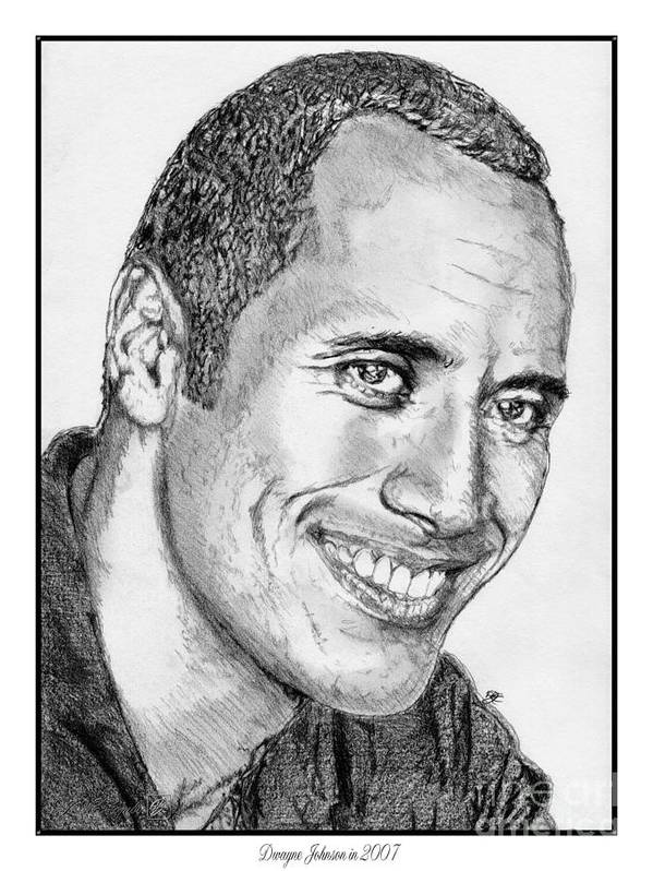 Mccombie Poster featuring the drawing Dwayne Johnson In 2007 by J McCombie