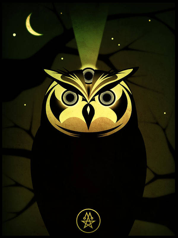 Owl Poster featuring the digital art Enlightened Owl by Milton Thompson