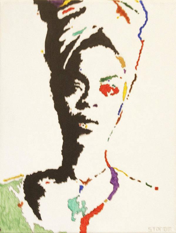 Erykah Badu Poster featuring the painting Erykah Badu by Stormm Bradshaw