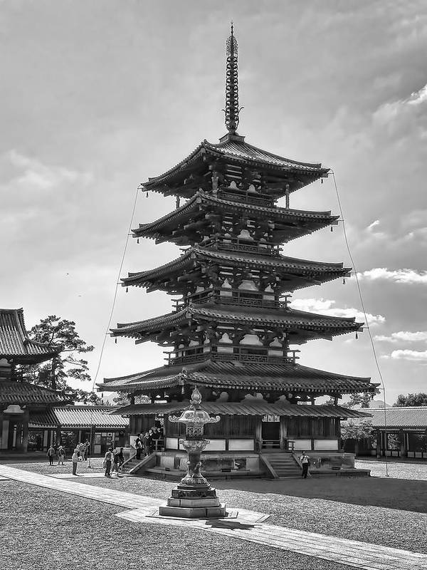 Pagoda Poster featuring the photograph Horyu-ji Temple Pagoda B W - Nara Japan by Daniel Hagerman