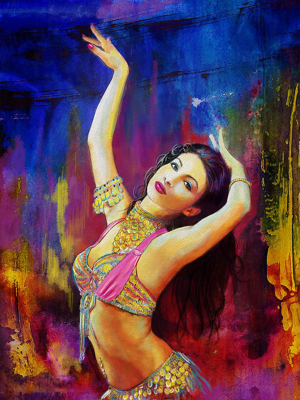 Belly Dance Art Poster featuring the painting Kaatil Haseena by Corporate Art Task Force