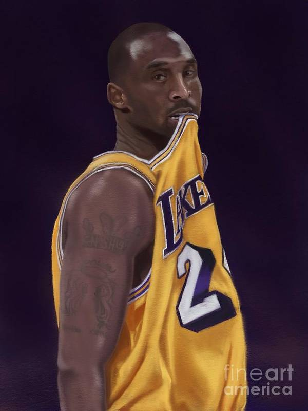 Kobe Poster featuring the drawing Kobe Bean Bryant by Jeremy Nash
