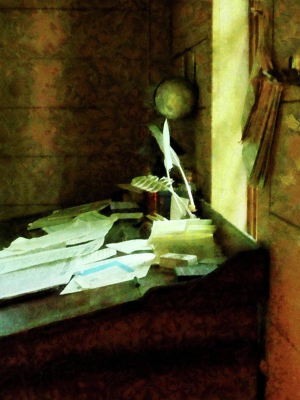Lawyer Poster featuring the photograph Lawyer - Desk With Quills And Papers by Susan Savad