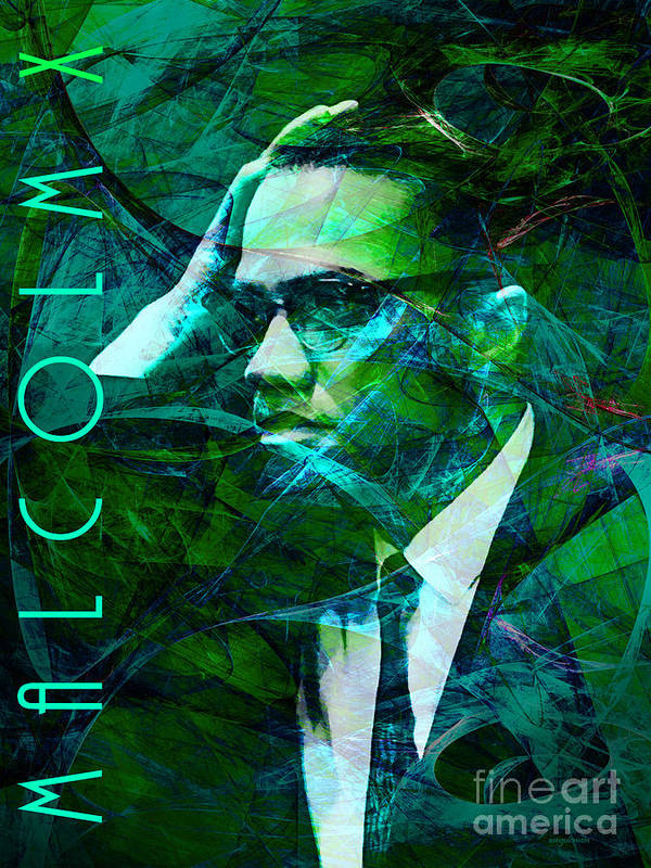 Celebrity Poster featuring the photograph Malcolm X 20140105p138 With Text by Wingsdomain Art and Photography