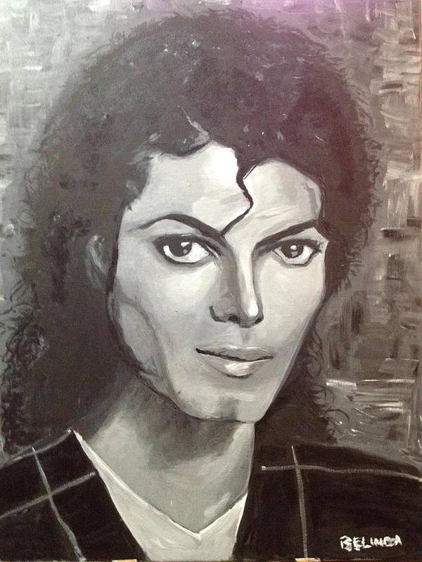 Mj Poster featuring the painting Man In The Mirror by Belinda Low
