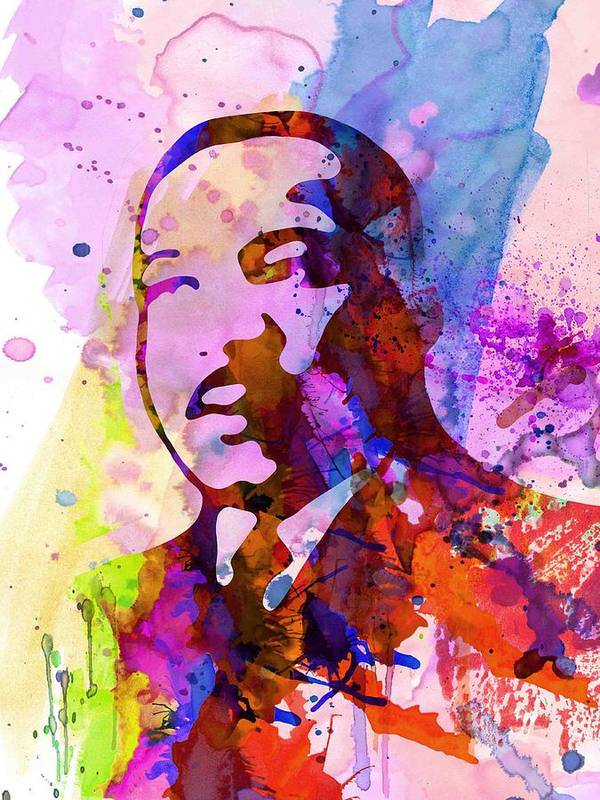 Martin Luther King Jr Poster featuring the painting Martin Luther King Jr Watercolor by Naxart Studio