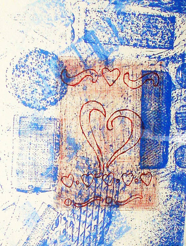 Print Making Image Of Love Poster featuring the relief Moment Of Truth by Yael VanGruber