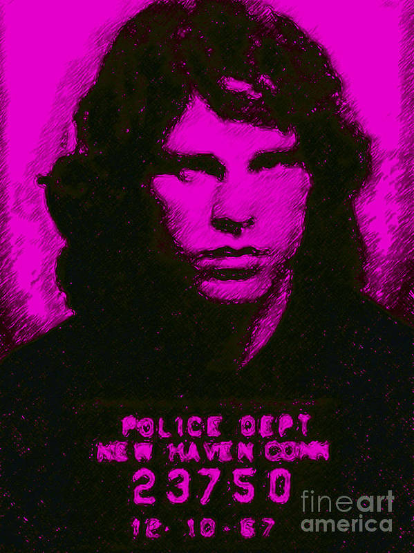 Jim Morrison Poster featuring the photograph Mugshot Jim Morrison M88 by Wingsdomain Art and Photography