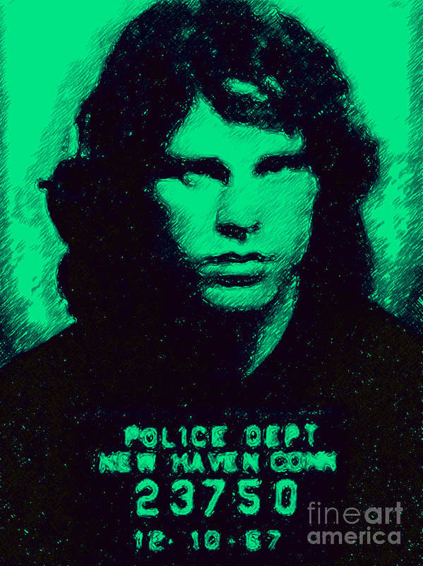 Jim Morrison Poster featuring the photograph Mugshot Jim Morrison P128 by Wingsdomain Art and Photography