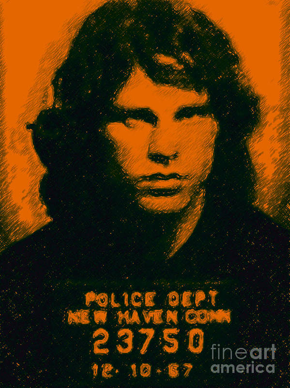 Jim Morrison Poster featuring the photograph Mugshot Jim Morrison by Wingsdomain Art and Photography