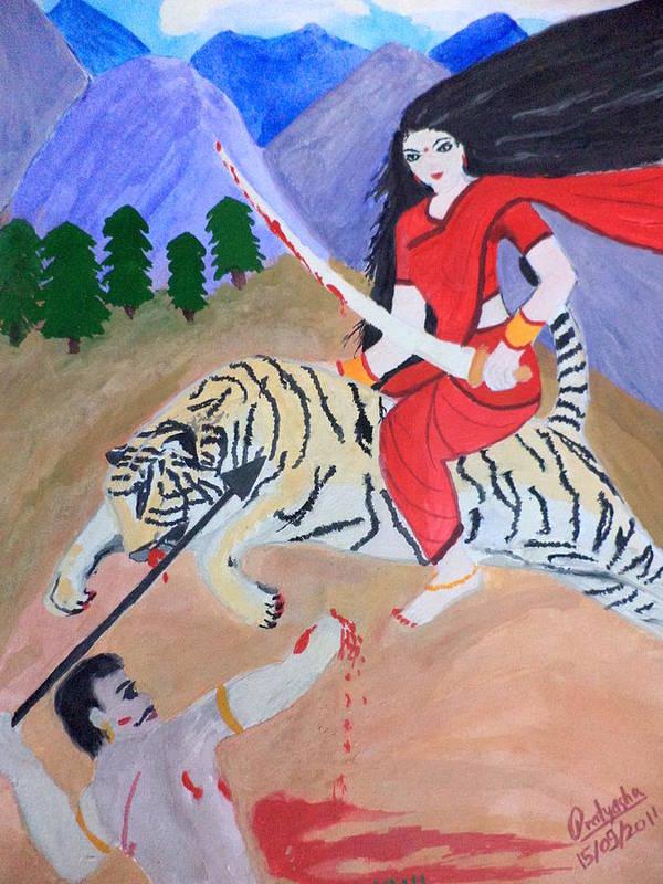Nava Durga Poster featuring the painting Nava Durga Kaatyayani by Pratyasha Nithin