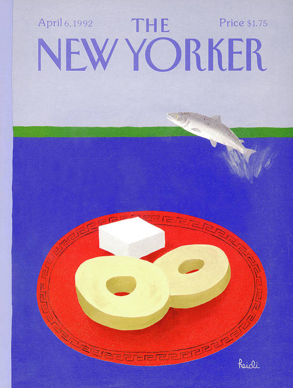 A Salmon Fish Jumps Out Of A Body Of Water Poster featuring the painting New Yorker April 6th, 1992 by Heidi Goennel