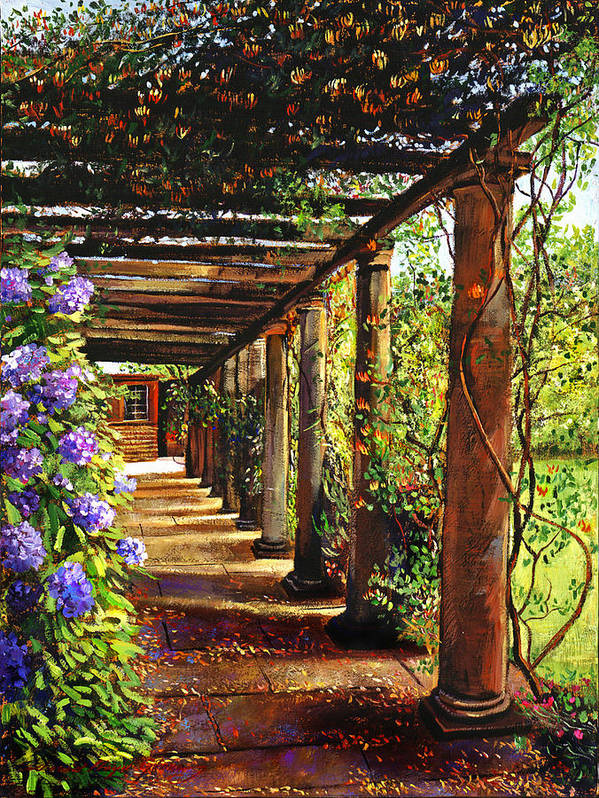 Impressionism Poster featuring the painting Pergola Walkway by David Lloyd Glover
