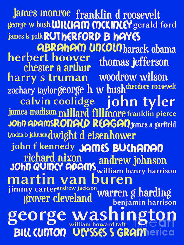 George Washington Poster featuring the digital art Presidents Of The United States 20130625 by Wingsdomain Art and Photography