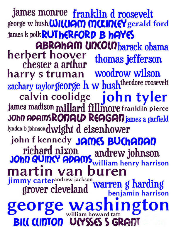 George Washington Poster featuring the digital art Presidents Of The United States 20130625whi by Wingsdomain Art and Photography