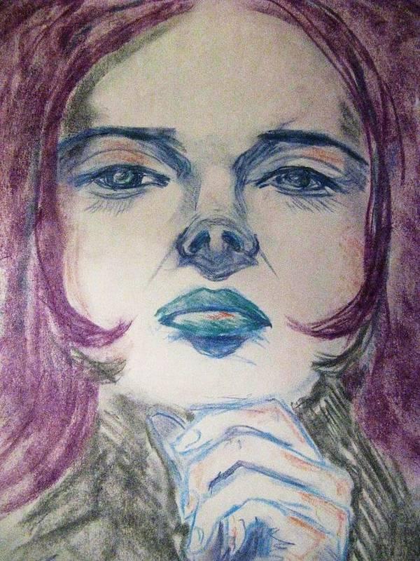 Woman Poster featuring the pastel Purple Haze by Agata Suchocka-Wachowska