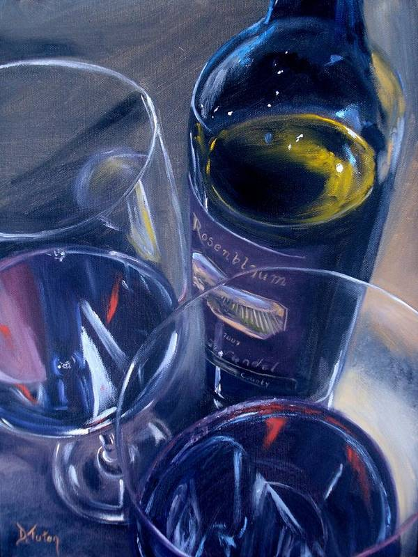Wine Poster featuring the painting Rosenblum And Glasses by Donna Tuten