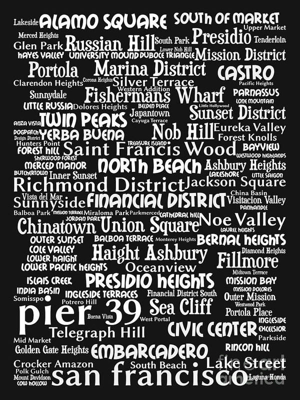 Bayarea Poster featuring the digital art San Francisco 20130710bw by Wingsdomain Art and Photography