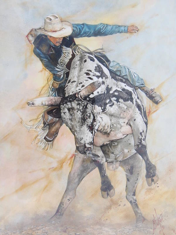 Bull Riding Poster featuring the painting Slow Dancing In A Burning Room by Bob Graham